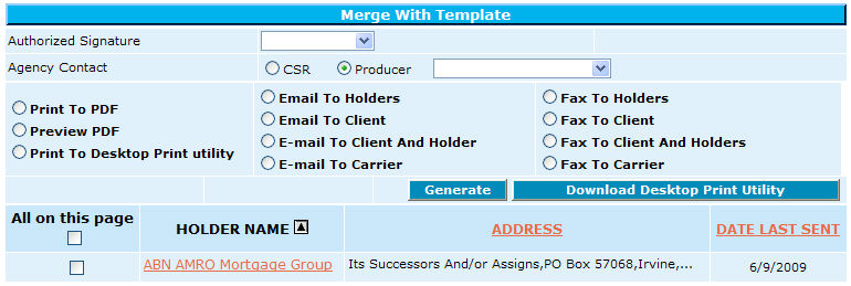 Merge with Template Cert Ins